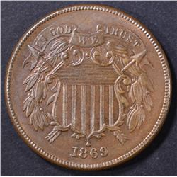 1869 2 CENT PIECE  GEM UNC