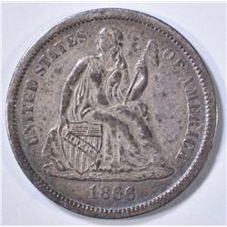 1866-S SEATED DIME  AU