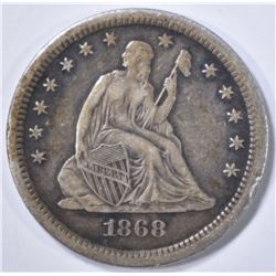 1868-S SEATED QUARTER  XF/AU