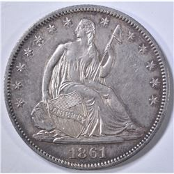 1861-O SEATED LIBERTY HALF DOLLAR  NICE ORIG UNC
