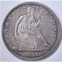 1861-O SEATED LIBERTY HALF DOLLAR  NICE ORIG UNC
