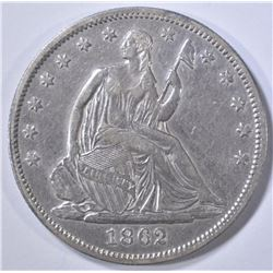 1862 SEATED LIBERTY HALF DOLLAR  AU