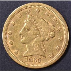 1865-S $2.5 GOLD LIBERTY  XF/AU