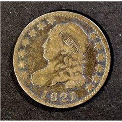 1821 BUST DIME, VG+ a few marks