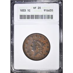 1833 LARGE CENT, ANACS VF-20