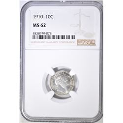 1910 BARBER DIME, NGC MS-62
