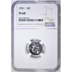 1951 ROOSEVELT DIME NGC PF-68