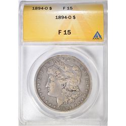 1894-O MORGAN DOLLAR, ANACS F-15