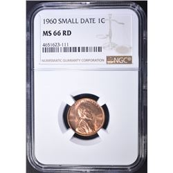 1960 SMALL DATE LINCOLN CENT, NGC MS-66 RED