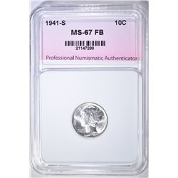 1941-S MERCURY DIME, PNA SUPERB GEM BU FB