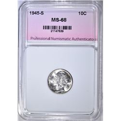 1945-S MERCURY DIME, SUPERB GEM BU+