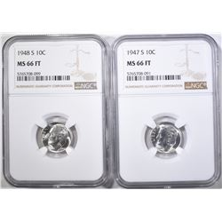 1947-S & 48-S ROOSEVELT DIMES, NGC MS-66 FT
