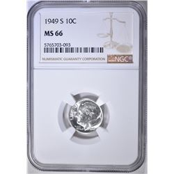 1949-S ROOSEVELT DIME, NGC MS-66