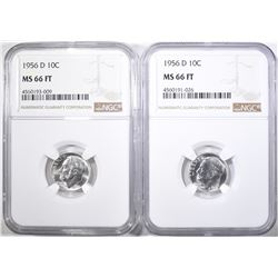 2-1956-D ROOSEVELT DIMES, NGC MS-66 FT