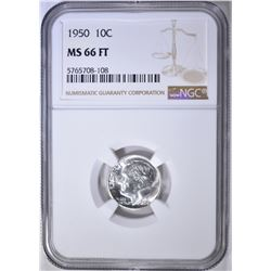 1950 ROOSEVELT DIME, NGC MS-66 FT