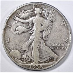 1938-D WALKING LIBERTY HALF DOLLAR, F/VF