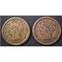 1854 VG & 55 F/VF LARGE CENTS,