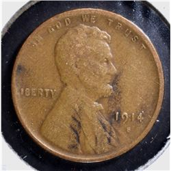 1914-S LINCOLN CENT, XF