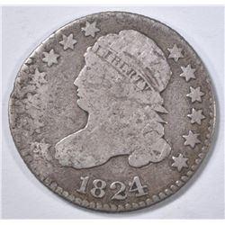 1824/2 BUST DIME, VG rim damage