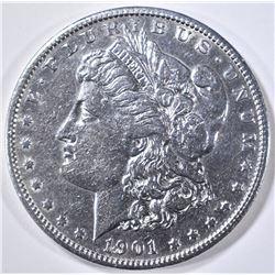 1901-S MORGAN DOLLAR AU CLEANED
