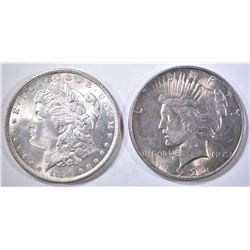 1896 CH BU MORGAN & 1922 AU PEACE DOLLARS