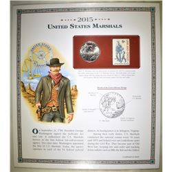 2015 U.S. MARSHAL'S UNC HALF & STAMP ON INFO CARD