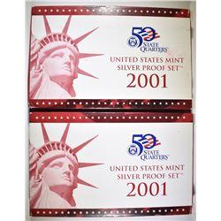 2-2001 U.S. SILVER PROOF SETS IN ORIG PACKAGING