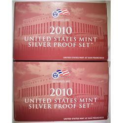 2-2010 U.S. SILVER PROOF SETS ORIG PACKAGING