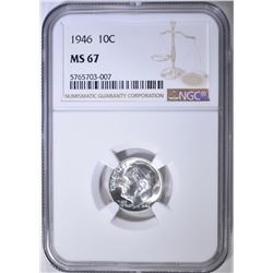 1946 ROOSEVELT DIME NGC MS-67
