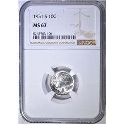 1951-S ROOSEVELT DIME NGC MS-67