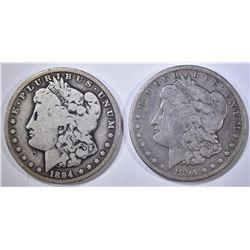 1894-O & 94-S MORGAN DOLLARS, VG