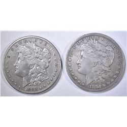 1883-S & 84-S VF MORGAN DOLLARS