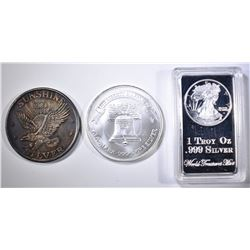 3-DIFFERENT ONE OUNCE .999 SILVER PIECES