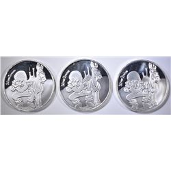 3-ONE OUNCE .999 SILVER SILVERTOWNE LOGO ROUNDS