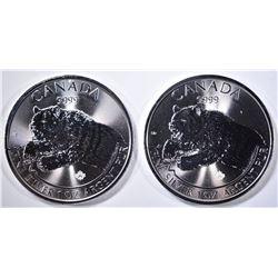2-BU 2019 CANADA ROARING GRIZZLY 1-Oz SILVER COINS