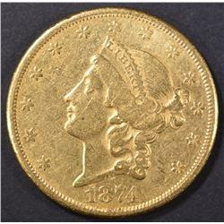 1874-CC $20.00 GOLD LIBERTY, CH AU