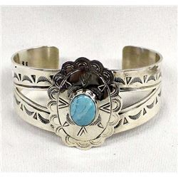 Navajo Sterling Turquoise Bracelet by Ma'Atsidii