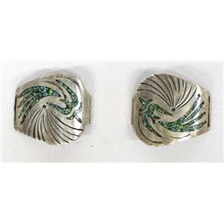 Navajo Sterling Chip Inlay Turquoise Watch Tips