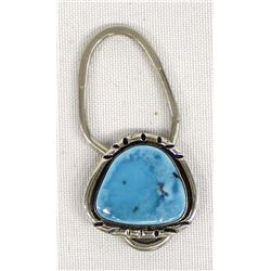 Navajo Sterling Turquoise Keyring by L. Platero