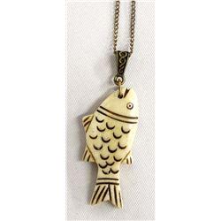 Alaskan Carved Bone Fish Pendant Necklace