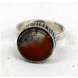Estate Sterling Silver Petrified Wood Ring, Sz 7