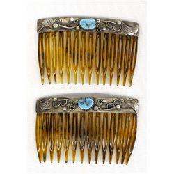 Vintage Navajo Sterling Turquoise Hair Combs