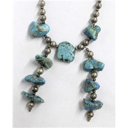 Vintage Navajo Sterling Turquoise Nugget Necklace