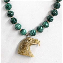 Malachite and Carved Bone Eagle Pendant Necklace