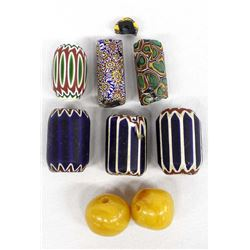 Chevron, Clay, and Butterscotch Amber Beads