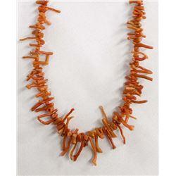 Native American Navajo Red Branch Coral Necklace