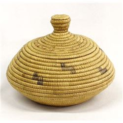 Antique Northwest Coast Eskimo Lidded Basket