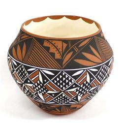 Hand Painted Acoma Pottery Olla by Dora Antonio