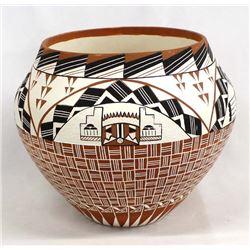1988 Acoma Hand Painted Ceramic Pottery Olla