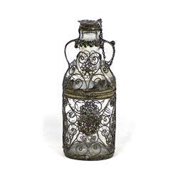 Vintage Nujol Medicine Bottle with Metal Filigree